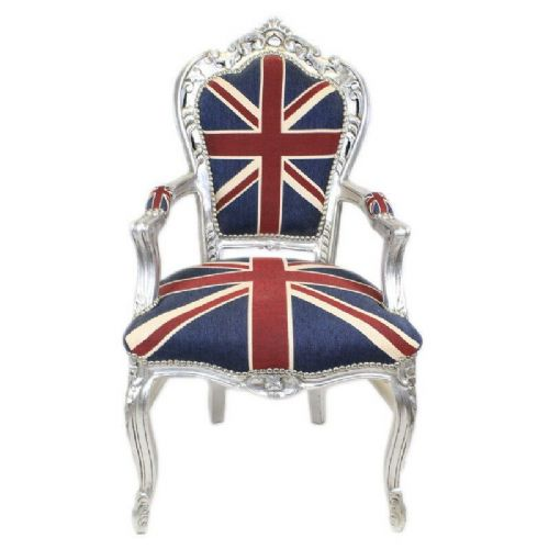 CHAIRS FRANCE BAROQUE STYLE DINING ROYAL CHAIR WITH ARMRESTS SILVER/UK #70F31
